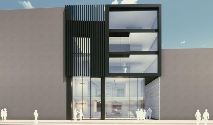 Links de bestaande thuiszorgwinkel Clinicare die in de nieuwbouw rechts geïntegreerd wordt.