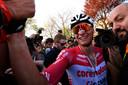 Wereldkampioen veldrijden Mathieu van der Poel won dit seizoen de Amstel Gold Race.