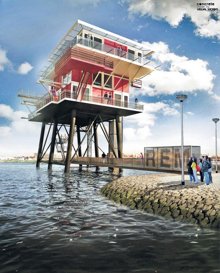 Artist impression van het gerenoveerde REM-eiland in de Amsterdamse Houthaven. Beeld