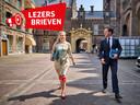 Premier Mark Rutte en Sigrid Kaag (D66) op weg naar een gezamelijk overleg met informateur Hamer op het Binnenhof.