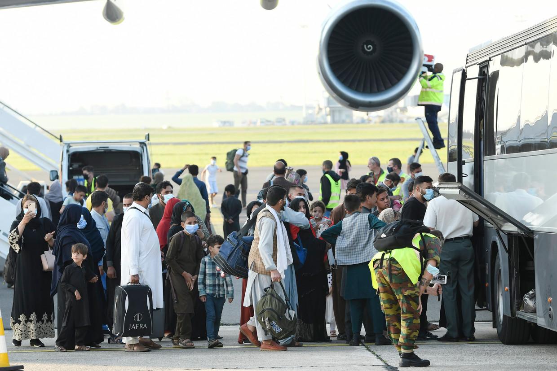 Vrijdag landde de laatste evacuatievlucht met Belgen en Afghanen in Melsbroek. Beeld Photo News