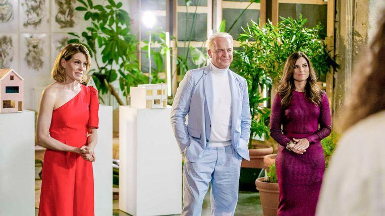 Dina Tersago, Gert Voorjans en Cerina Marchetta in 'Huis gemaakt' Beeld VTM
