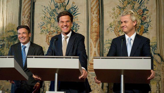 Regeringsleiders Verhagen (CDA), Rutte (VVD) en Wilders (PVV).