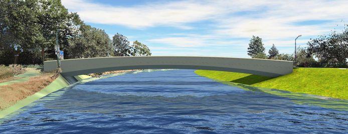 Het ontwerp voor de nieuwe 'witte brug' (Groenendaal-brug) over de Essche Stroom bij de Spankerstraat in Esch.