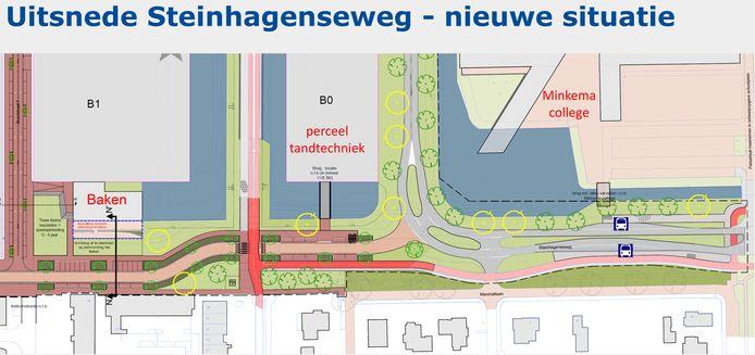 Het plan voor het omleggen van de Steinhagenseweg.
