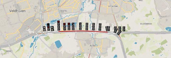 Het ongeval gebeurde net voor knooppunt De Hogt.