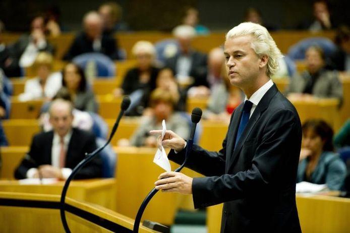 Geert Wilders in de Tweede Kamer.foto Robin Utrecht/ANP