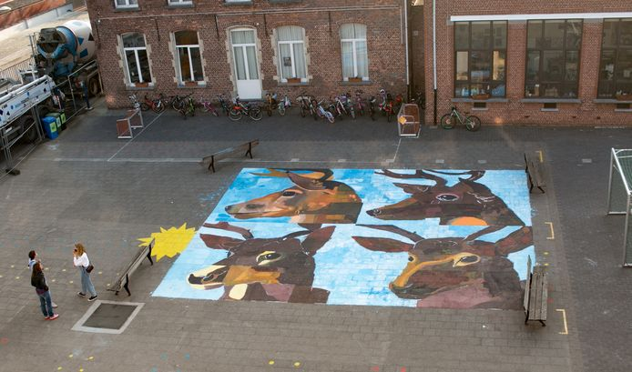Het werk op de speelplaats van de Sint-Catharinaschool.