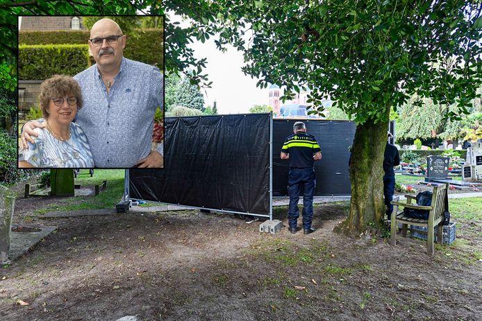 De politie heeft in Halsteren het lichaam van Mia Grinwis laten opgraven in het onderzoek naar de verdachte dood van man Chris.