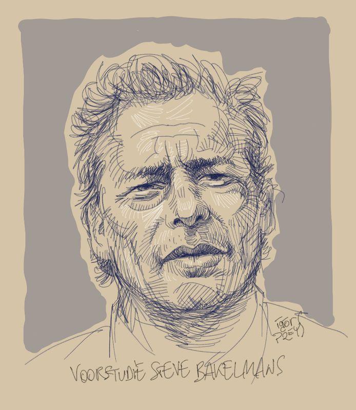 Steven Bakelmans dessiné par Igor Preysen amont d'une audience au tribunal d'Anvers