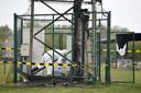 De gsm-mast in het Limburgse Pelt die zaterdagavond in brand werd gestoken.