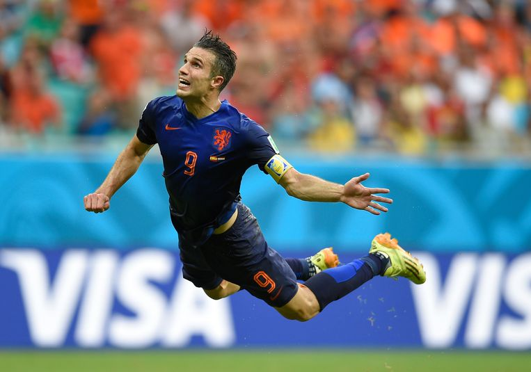 De beroemde zweefduik tegen Spanje, tijdens het WK van 2014. Beeld ANP