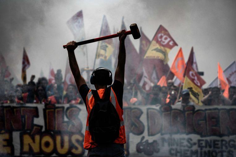 Spoorwegmedewerkers demonstreren in Lyon. Beeld AFP