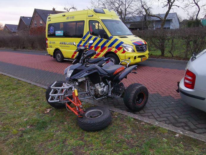 Een wiel van de quad brak af.
