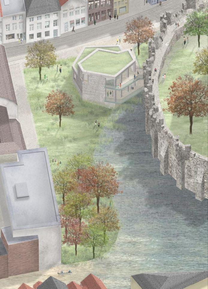 Het paviljoen dat in de groenzone naast het Gravensteen zou komen.