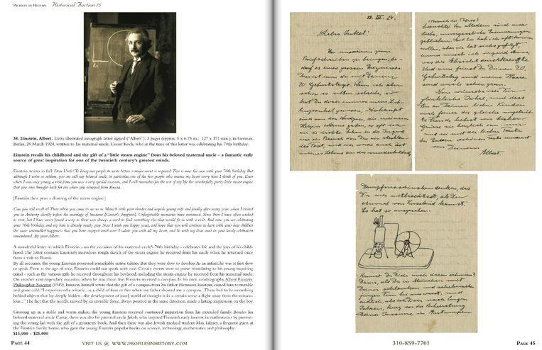 Twee pagina's uit de catalogus van het Amerikaanse veilinghuis Profiles in History, dat de brieven vandaag onder de hamer brengt. In een van de brieven tekende Einstein de stoommachine die hij van een oom kreeg toen hij jong was. Beeld site Profiles in History