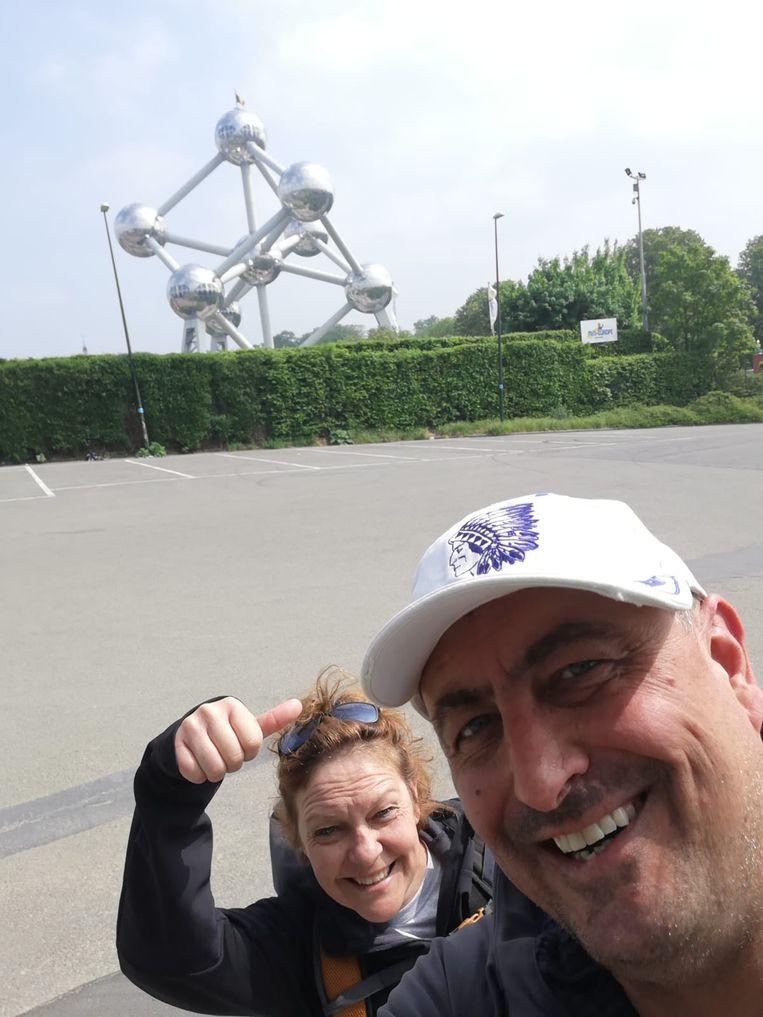 Jo en Nele zijn gearriveerd de de Heizel voor de bekerfinale.