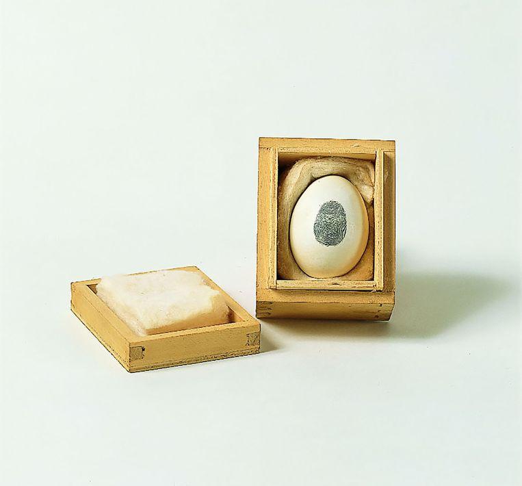 Piero Manzoni,  gebeeldhouwd ei in houten kist, nr. 14, 1960 (5,7 x 8 x 6,7 cm). Beeld Fondazione Piero Manzoni