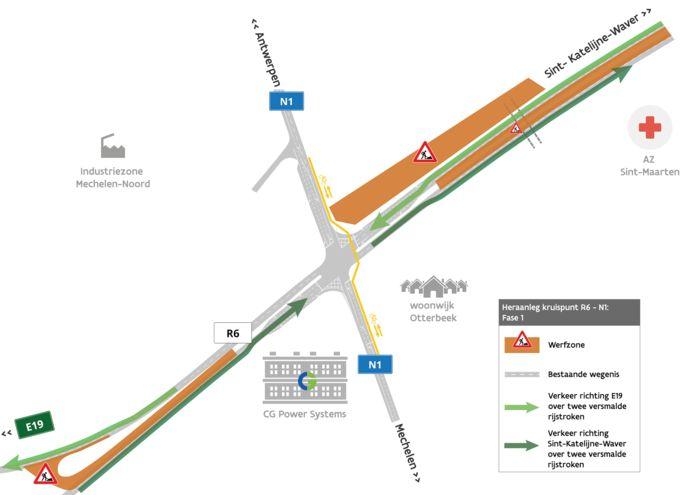 Schematische weergave van de werfzone op het kruispunt van R6 en Antwerpsesteenweg in Mechelen