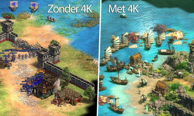 Het verschil in graphics is duidelijk als je de beelden met 4K en zonder naast elkaar legt.
