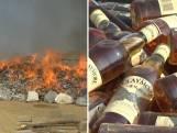 65.517 flessen drank en 715 kilo drugs verbrand in Pakistan