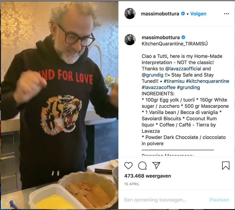 Onder de naam #kitchenquarantine geeft Massimo Bottura momenteel digitale kooklessen vanuit zijn keuken thuis. Beeld Instagram