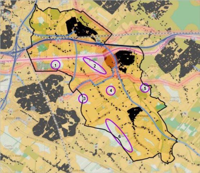 Kaart van de zes potentiële locaties voor windmolens in de gemeente Bunnik.