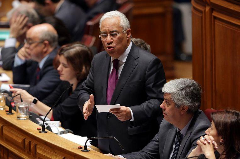 De Portugese Antonio Costa tijdens een debat in het Portugese parlement in maart 2017. Beeld ap