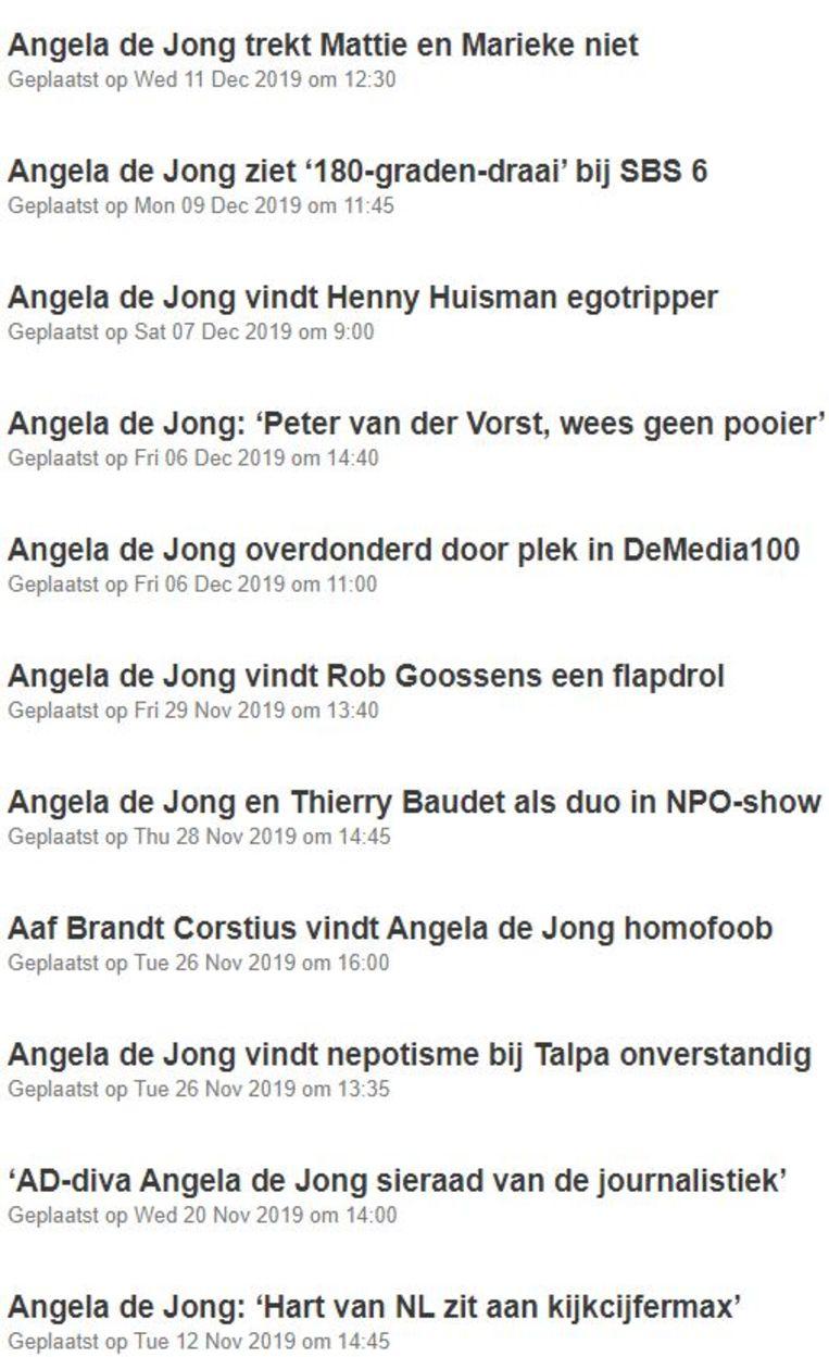 Veel Angela de Jong op Mediacourant.nl. Beeld Mediacourant