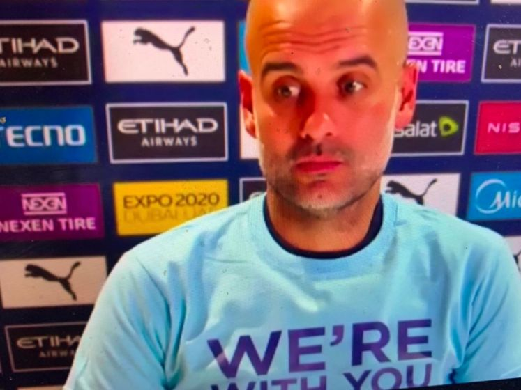 """Guardiola steunt gemolesteerde City-fan uit Ninove met opvallend t-shirt: """"We're all with you"""""""