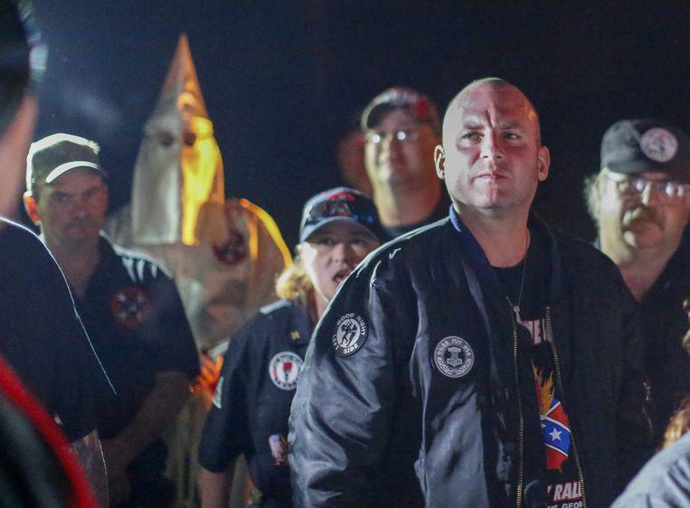 Jeff Schoep tijdens een demonstratie van de NSM in 2016. Beeld EPA
