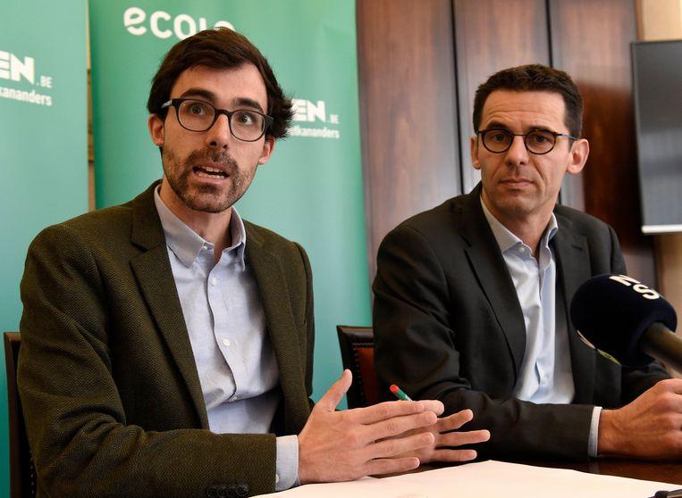 Kristof Calvo (Groen) en Jean-Marc Nollet (Ecolo). Beeld Photo News