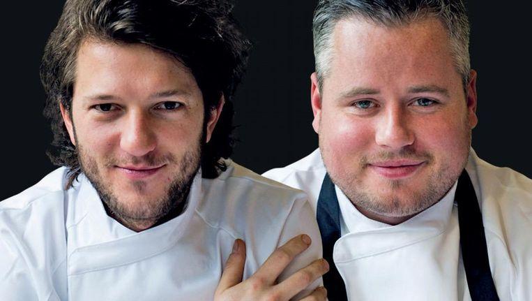 Chefs Freek van Noortwijk en Guillaume de Beer serveren drie kleine aardappelgerechtjes Beeld Food Cabinet