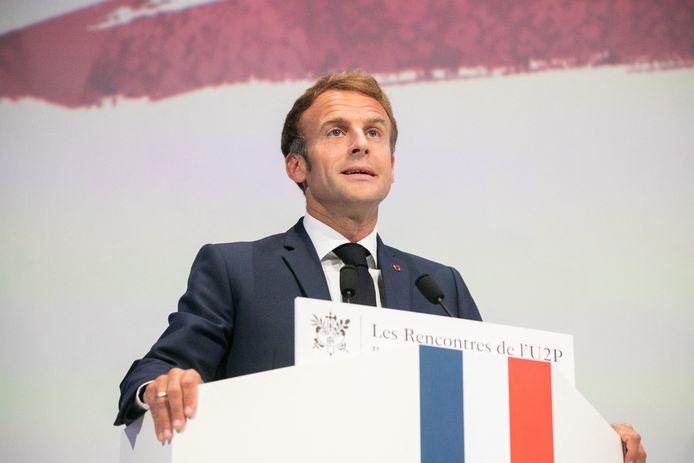 Le président Macron, jeudi, aux Rencontres de l'Union des Entreprises de proximité (U2P), à la Maison de la Mutualité à Paris