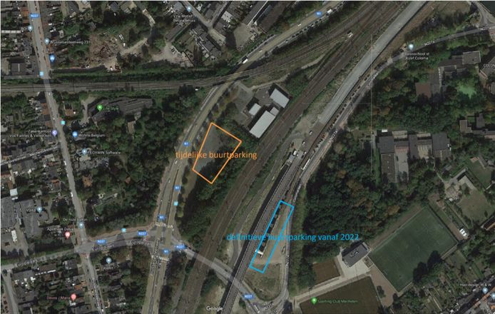 Een kaartje met daarop de locaties van de parkings.