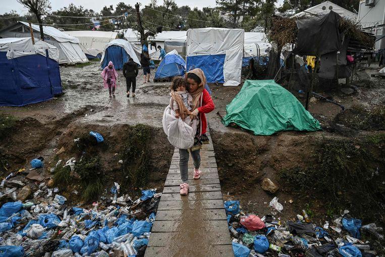 Het opvangkamp Moria, op het eiland Lesbos. Beeld AFP