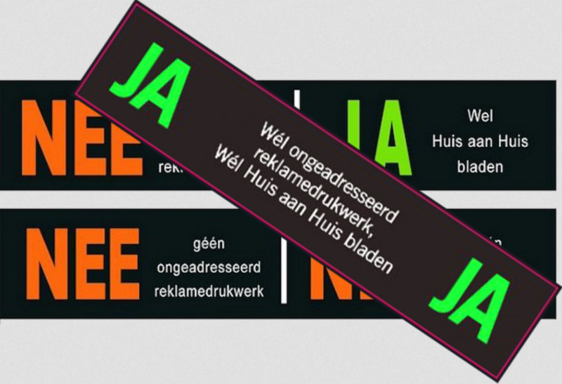 Een ja/ja-sticker