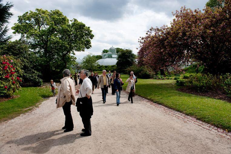 Bezoekers in de koninklijke tuin. Als dat permanent gebeurt, zullen dieren en planten eronder lijden, denkt Trachet. Beeld Reporters / KETELS