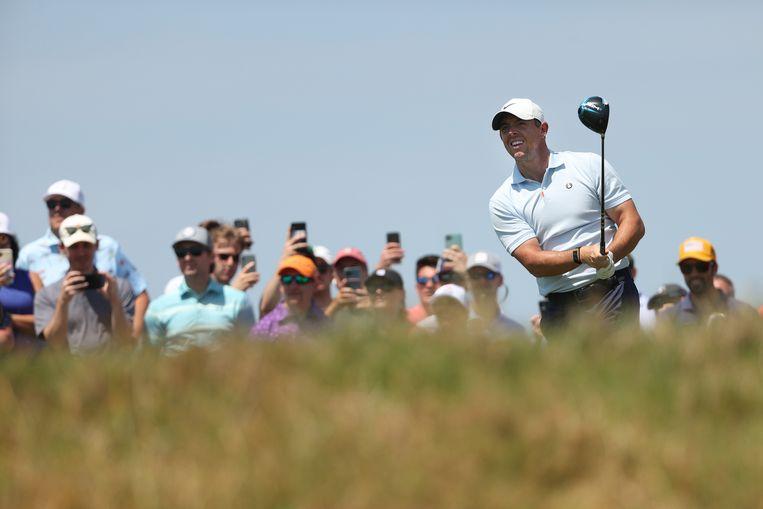 De Noord-Ier Rory McIlroy tijdens een oefenrondje voor het PGA Championship dat donderdag begint op de baan van Kiawah Island, South Carolina.    Beeld AFP