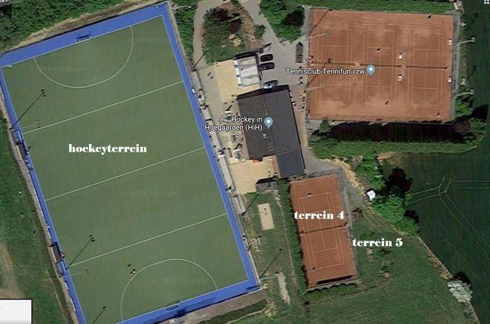 De site aan hockeyterrein en tennisvelden (Google Maps)