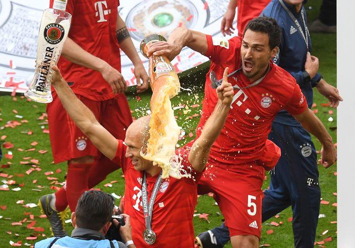 Acht kampioenschappen betekende ook veel bier voor Arjen Robben bij Bayern München.
