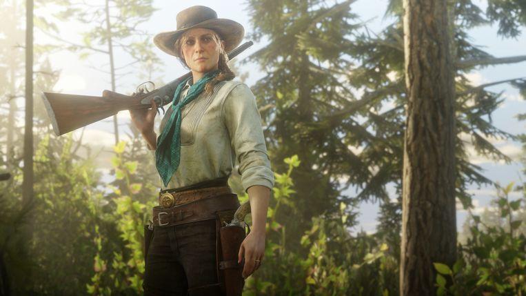 Sadie Adler (actrice Cali Elizabeth Moore), een van de onvergetelijke hoofdpersonages uit 'Red Dead Redemption II'. Beeld Rockstar Games