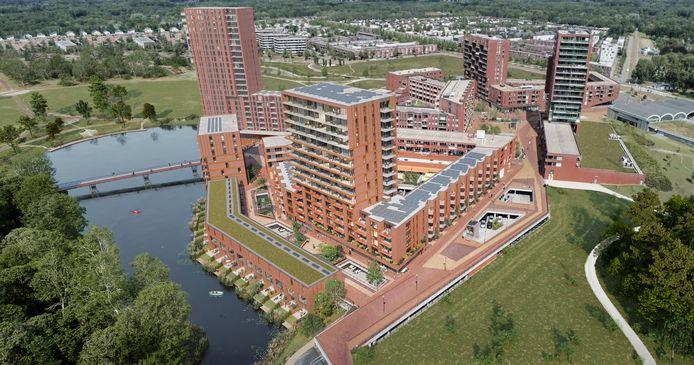 Impressie van woongebouw De Hooghe Heer met 138 appartementen en de bijbehorende 17 waterwoningen bij centrum Meerrijk in de Eindhovense wijk Meerhoven.