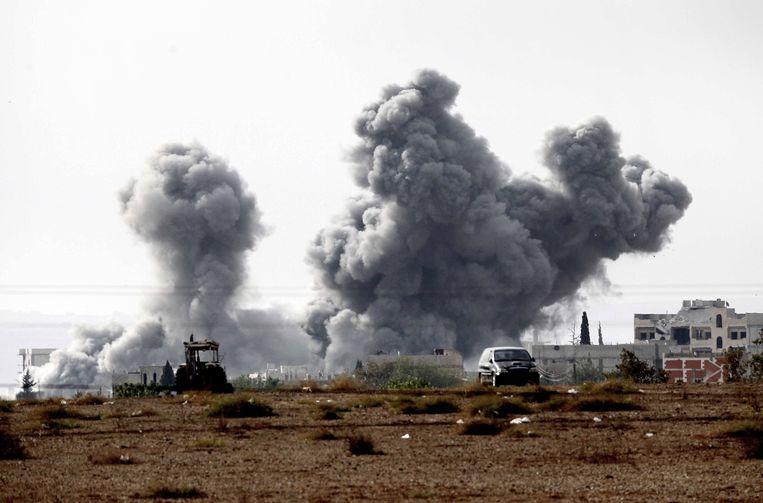 Effecten van luchtaanvallen op Kobani, 14 oktober. Beeld getty