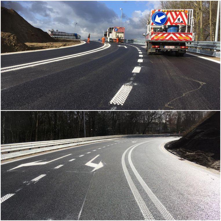 Vandaag werden de wegmarkeringen aangebracht op de nieuwe op- en afrit.