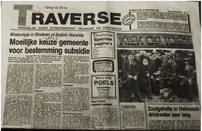 Voorpagina uit 1980 met de rubriek 'Kiek op Toen'.