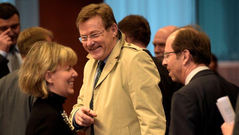 Minister Van Overtveldt gisteren op de vergadering van de Eurogroep.