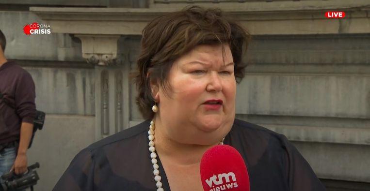 Minister van Volksgezondheid Maggie De Block (Open Vld) na afloop van de Nationale Veiligheidsraad van maandag 27 juli. Beeld VTM Nieuws