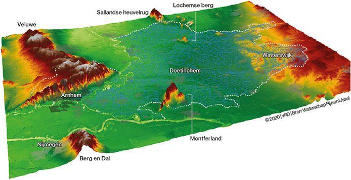 De Achterhoek ligt 'ingeklemd' tussen heuvelachtig gebied. Linksboven de Veluwe met onder meer de Posbank. Linksonderin de heuvels van Berg en Dal. Het rode puntje onderin het midden is het heuvelachtige gebied Montferland. Rechts ligt het glooiende gebied in het grensgebied met Duitsland. En helemaal bovenin begint de Sallandse Heuvelrug.