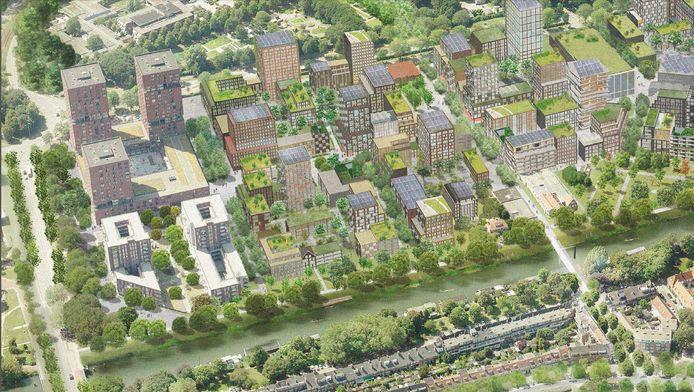 Impressie van de Merwedekanaalzone, met links de begrenzing van de reeds bestaande City Campus Max.